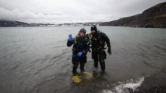 Iceland 2012, Askja - volcano lake- after all equipment hassle we are ready to dive- yeahhh!!